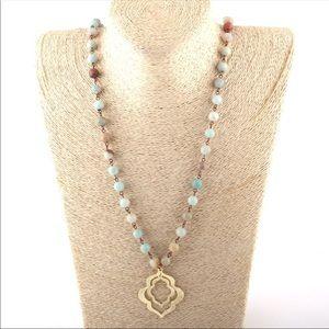 New! Natural Amazonite Beads & Gold Boho Necklace